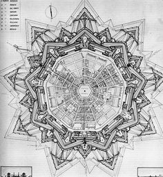 Plan of Palmanova Italy, 1851 The town is an excellent example of star fort of the Late Renaissance, built up by the Venetians in Fantasy City, Fantasy Castle, Fantasy Map, Renaissance Architecture, Ancient Architecture, Star Fort, Rpg Map, Architecture Drawings, Technical Drawing