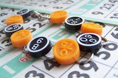 Vintage Bingo Marker Bracelet Black and Orange