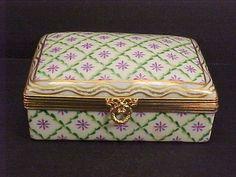Vintage LE TALLEC Limoges France Large Hinged Porcelain Box