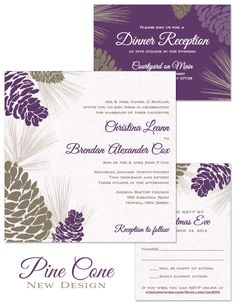 Pine Cone Wedding Invitation in Umber & Plum | by The Green Kangaroo, Inc.