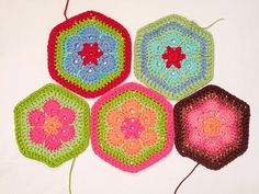 Heidi Bears: African Flower Hexagon Crochet Tutorial- for the baby blanket in pinks/greens and cream.