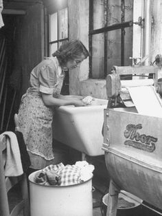 The Maid Doing The weekly wash--how do they know it is a maid? Funny tho' my granny was a maid and this looks like her back in the day tho she was a bit heavier