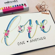 how new tools sometimes inspires new projects. Once I saw the colorful, tropical palette from Prima Marketing, I knew I wanted to paint some bright Watercolor Lettering, Brush Lettering, Watercolor Cards, Watercolour, Calligraphy Letters, Modern Calligraphy, Caligraphy, Calligraphy Quotes, Penmanship
