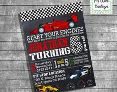 Birthday racecar invitation party invitation kids race cars chalkboard invite auto racing party digital printable invitation 13275