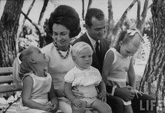 spanishroyals:  The Spanish Royal Family at the grounds of La Zarzuela Palace, July, 1969:  Cristina, Sofia, Felipe, Juan Carlos, Elena.