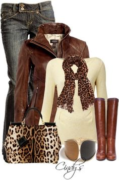 Cream sweater, leopard scarf and purse, brown boots and jacket. Are you Holiday Ready? http://www.islandheat.com Great gift Idea's.