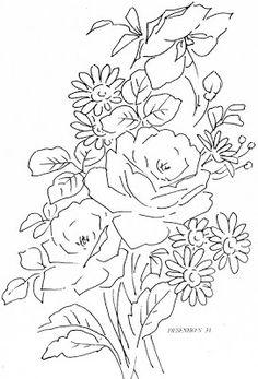 Pintura em Tecido Passo a Passo Com Fotos: Riscos Desenhos de flores para colorir e pintar em tecido