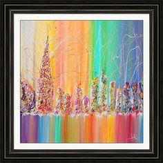 Check out Cityscape painting, Urban, Abstract Painting, Rainbow Art Print, Dubai Skyline, Cityscape Art Print, Rainbow Abstract, UAE, Julia Apostolova on juliaapostolova