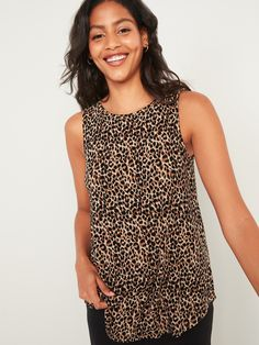 """""""Our Luxe tank tops are supremely soft and drape beautifully.  You deserve it.  High scoop neck.  Sleeveless arm openings.  Center seam in back.  Super-soft rayon jersey, with comfortable stretch and all-over print or pattern.  Relaxed fit through bo V Shape Cut, Leopard Top, Shop Old Navy, Old Navy Women, Printed Tank Tops, Petite Size, Dressing, Model"""