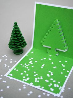 How to: Make 3D Pixel Pop-Up Christmas Cards | Man Made DIY | Crafts for Men | Keywords: christmas vintage how-to pixel holiday card video-game paper retro