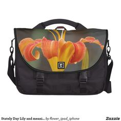 Stately orange Day Lily laptop bag