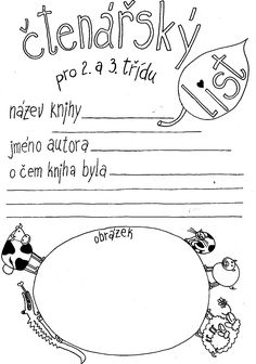 Čtenářský list pro 2. a 3. třídu School Humor, Primary School, Funny Kids, Montessori, Homeschool, Teaching, Education, Literatura, Onderwijs