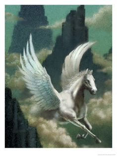 Pegasus (Greek) - is a winged white stallion. His parents are Poseidon and Medusa. He has a role of horse-god. Pegasus was born at a single birth when his mother was decapitated by Perseus. Friend of the Muses, Pegasus is the creator of Hippocrene, the fountain on Mt. Helicon.