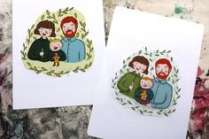 Illustrated Family Portrait Family Illustration, Hand Illustration, Multiple Images, Gouache, Family Portraits, Etsy Store, Daisy, Reusable Tote Bags, Handmade Gifts