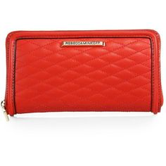 Rebecca Minkoff Ava Quilted Leather Zip Continental Wallet ($155) ❤ liked on Polyvore featuring bags, wallets, apparel & accessories, cherry, pocket bag, rebecca minkoff wallet, pocket wallet, red zip around wallet and red bag