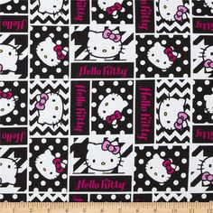 Hello Kitty Black and White Geometric Face Patch Black from @fabricdotcom  Designed by Sanrio and licensed to Springs Creative Products, this cotton print is perfect for quilting, apparel and home decor accents. Colors include magenta, pink, yellow, black, and white. Due to licensing restrictions, this item can only be shipped to USA, Puerto Rico, and Canada.