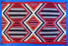 "Third Phase Navajo Chief Blanket; The Third Phase pattern of full, half and quarter diamonds (and sometimes referred to as a ""9-spot), was very popular with the Traders, who continued to encourage weavers to use the pattern well into the rug period. 060322-06  AAIA, Inc. deals in antique & contemporary Native American Indian art and artifacts. We Buy, Sell, Consign, Appraise, Restore & Research. #Antique #American #Indian #Art (949) 813-7202 mwindianart@gmail.com"
