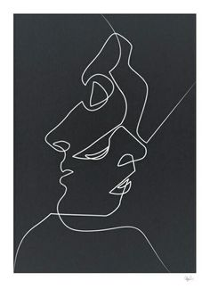 Close Noir Art Print by quibe Available for purchase Close Noir Black and White Minimalist Abstract Art Painting Face People Relationships Love Art Blanc, Illustration Art, Illustrations, Art Inspo, Art Drawings, Drawing Art, Face Line Drawing, Contour Drawing, Abstract Drawings