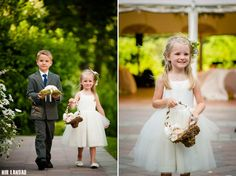 Summer Wedding Idea: The flower girl has a floral headband, mini basket, and comfy shoes!  The ring bearer is holding a moss pillow for the wedding rings.  These two fit perfectly amongst the flowers in the garden courtyard at Willowdale Estate!  venue: willowdaleestate.com photo: nirlandau.com
