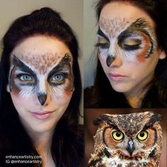 Barn owl make-up face paint, half face. Would be stunning with amber contacts.