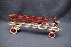Antique Pressed Steel Kingsbury-Wilkins Fire Wagon Wind-up Toy Truck ca. 1897