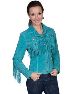 Scully Western Jacket Womens Leather Beaded Fringe Fitted L152 Jaqueta De  Camurça fc647a12beb