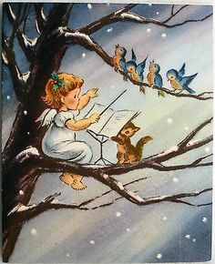 358 50s Norcross Angel Bird Conductor Vintage Christmas Greeting Card | eBay
