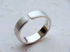 Adjustable stamped 6mm satin finish recycled sterling ring for Kristin LARGE size on Etsy, $190.00