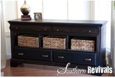 dresser makeover - remove drawers and replace with baskets
