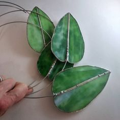 Excited to share the latest addition to my #etsy shop: Stained glass leaves, green stained glass Suncatcher, glass art, glass home decor, plant spikes, leaf suncatcher https://etsy.me/2uM61cj