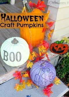 Halloween craft: pretty painted porch pumpkins