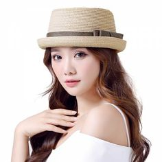 Crimping straw hat for girls bow sun hats UV protection