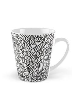 """White and black zentangle"" Tall Mug by @savousepate on @redbubble #pattern #drawing #abstract #modern #graphic #geometric #boho #doodles #zentangle #blackandwhite"