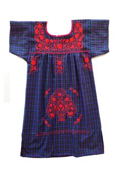 Plaid Mexican Embroidered Puebla Dress