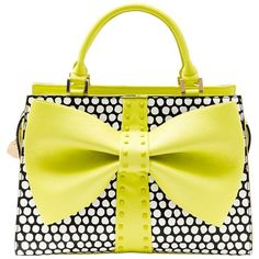 Betsey Johnson Curtsy Bow Satchel Handbag ($118) ❤ liked on Polyvore featuring bags, handbags, purses, citron, vegan handbags, betsey johnson purses, shoulder strap handbags, structured handbags and bow handbags