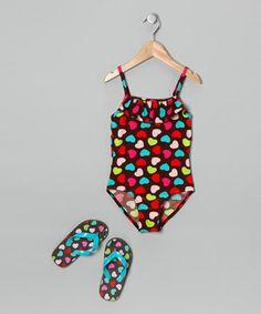 Love this Brown Heart One-Piece & Flip-Flops by Jump'N Splash on #zulily! #zulilyfinds