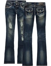 ALMOST FAMOUS Stud Detail Womens Bootcut Jeans