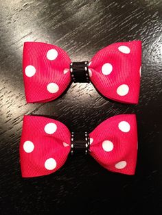 Minnie Mouse Hair Bow Clippies by CoutureBabyBands, $10.00
