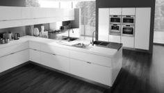modern kitchen b&w