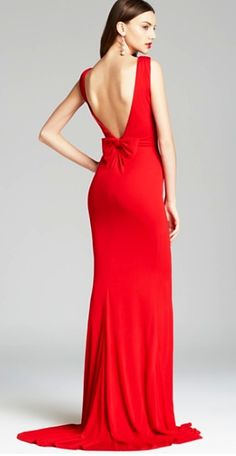 Red long dress by Badgley Mischka at Bloomingdale's