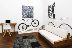 This Apartment Furniture Doubles as Bike Storage Bike Storage Small Space, Bike Storage Home, Bike Storage Apartment, Garage Apartment Floor Plans, Bike Storage Rack, Apartment Furniture, Home Furniture, Tiny Apartment Living, Vertical Bike
