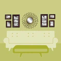 Over-the-Couch 3  Center a dramatic piece over a large piece of furniture and hang frames on sides symmetrically. Keep the spacing between your frames consistent. This will create a nice balance in your space.