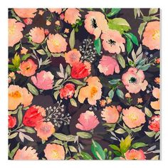 """Gallery Direct """"Watercolor Floral Pattern"""" by Inna Ogando Painting Print Size: 28"""" H x 28"""" W"""