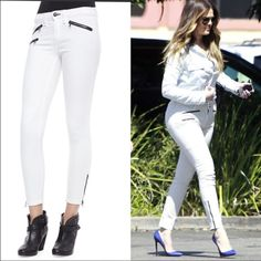 Rag and Bone white skinny leg ankle zipper jeans Celebrity favorite brand Rag and Bone white skinny leg jeans with black zipper accents at the front hips and ankles. Size 28. In excellent condition. As seen on Khloe Kardashian and many other celebrities. Get Khloe's look for a fraction of the original price! rag & bone Jeans Skinny