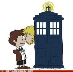 The Doctor and River in Peanuts style