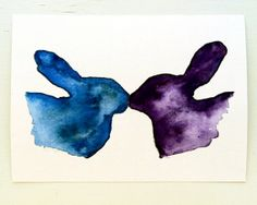 Two Bunny Rabbits Kissing / Easter Bunny / Love Bunnies