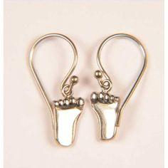 Baby Feet Earrings - Sacred Silver Baby Earrings, Baby Feet, Sterling Silver, Jewelry, Jewlery, Jewerly, Schmuck, Baby Foot, Jewels