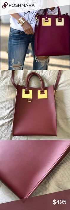 """Sophie Hulme Berry Mini Albion Tote •Modern structured tote in a berry red shade. One inside slip pocket.  •10.5""""W X 12.5""""H X 3""""D.  •Original shoulder strap was missing at time of purchase so I use a saffiano leather strap from Michael Kors. Color is almost exact (just different texture) and the metal detail differs a bit.  Will be included with purchase. Excellent used condition.  •NO TRADES/HOLDS/PAYPAL/MERC/VINTED/NONSENSE. Sophie Hulme Bags Totes"""