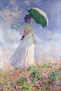 [Monet Art Print, Canvas - Woman with Parasol Turned to Right]