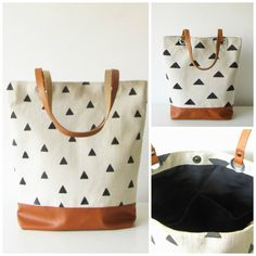 This tote is made of natural cotton canvas with hand printed triangles for the top part and vegan faux leather in caramel/toffee brown for the bottom part.  *Black cotton lining. *Inner slip pockets for your bits *The straps are made of real leather for extra support in coordinating color.  The triangle pattern is different on both sides which makes it even more unique!  *Silver color hardware. *Magnetic snap closure  Measurements:  Opening: 14 Height: 15 Straps approx. : 22  If you have any…